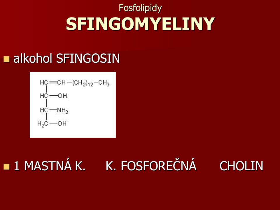 Fosfolipidy SFINGOMYELINY alkohol SFINGOSIN alkohol SFINGOSIN 1 MASTNÁ K. K. FOSFOREČNÁ CHOLIN 1 MASTNÁ K. K. FOSFOREČNÁ CHOLIN
