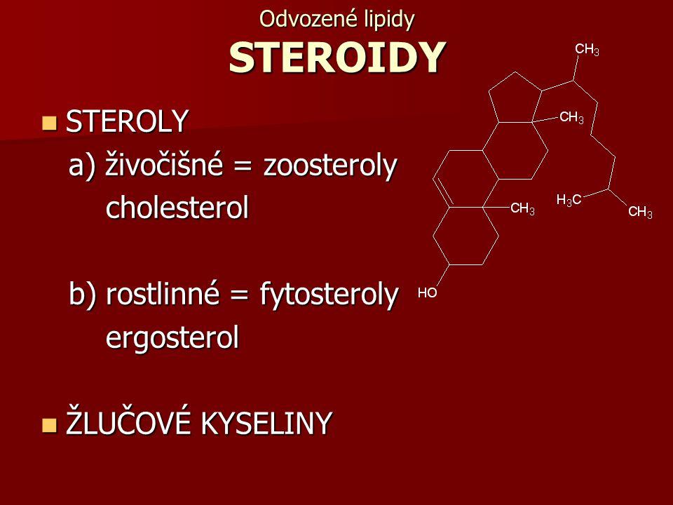 Odvozené lipidy STEROIDY STEROLY STEROLY a) živočišné = zoosteroly a) živočišné = zoosteroly cholesterol cholesterol b) rostlinné = fytosteroly b) ros