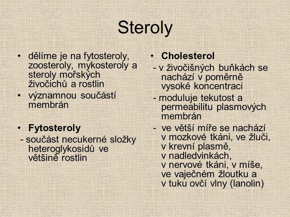 Steroly dělíme je na fytosteroly, zoosteroly, mykosteroly a steroly mořských živočichů a rostlin významnou součástí membrán Fytosteroly - součást necu
