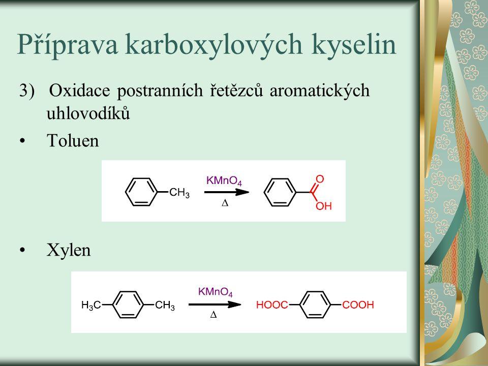 Výroba karboxylových kyselin 4) Oxidace alkanů C 20 – C 30 vzdušným O 2 Průmyslová výroba Směs oxidačních produktů - aldehydy - alkoholy - karboxylové kys.