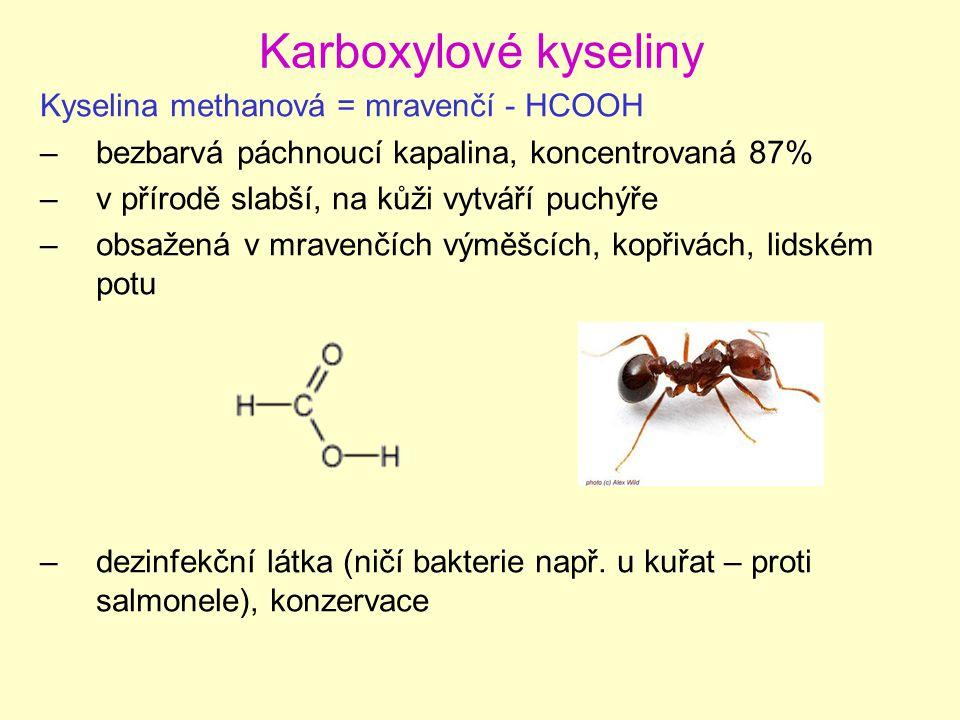 Karboxylové kyseliny Kyselina methanová = mravenčí - HCOOH –bezbarvá páchnoucí kapalina, koncentrovaná 87% –v přírodě slabší, na kůži vytváří puchýře –obsažená v mravenčích výměšcích, kopřivách, lidském potu –dezinfekční látka (ničí bakterie např.