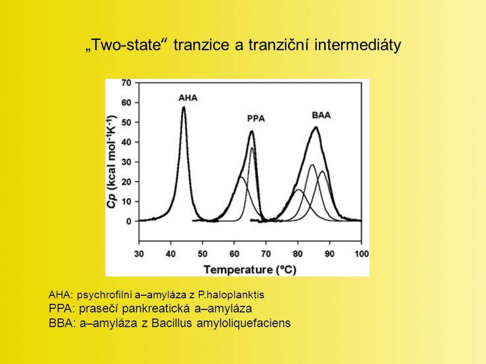 """""""Two-state tranzice a tranziční intermediáty AHA: psychrofilní a–amyláza z P.haloplanktis PPA: prasečí pankreatická a–amyláza BBA: a–amyláza z Bacillus amyloliquefaciens"""