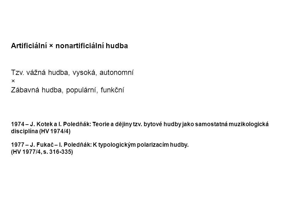 Artificiální × nonartificiální hudba Tzv. vážná hudba, vysoká, autonomní × Zábavná hudba, populární, funkční 1974 – J. Kotek a I. Poledňák: Teorie a d
