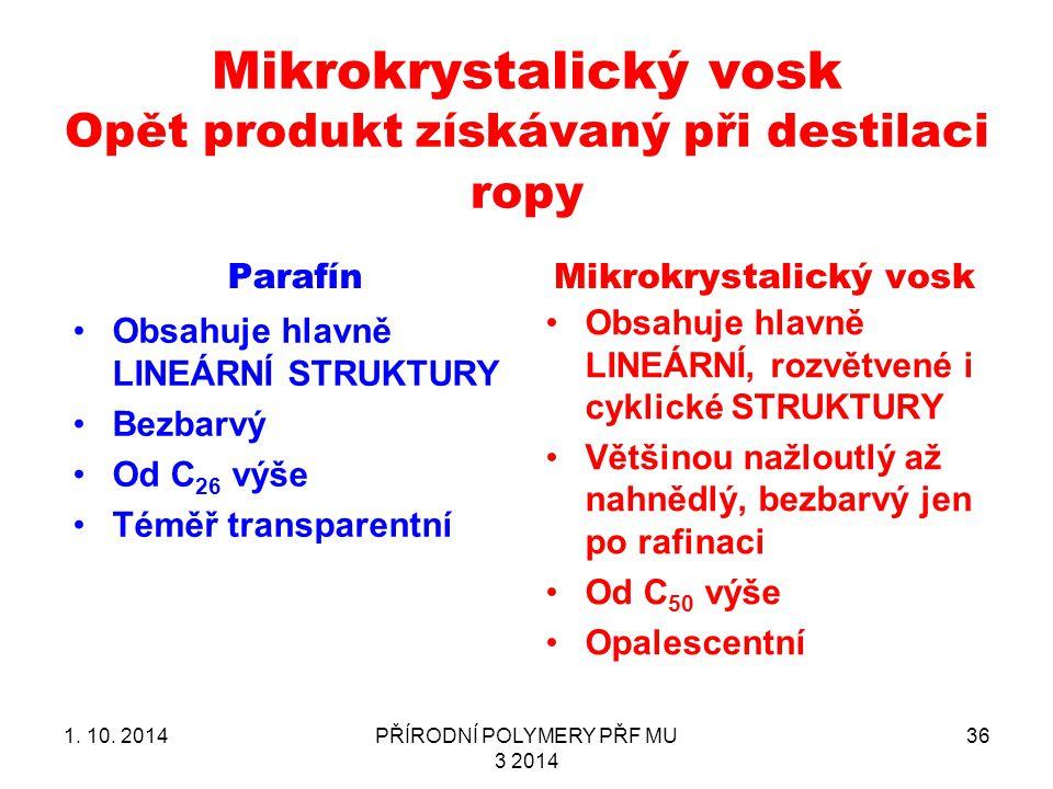 Mikrokrystalický vosk Opět produkt získávaný při destilaci ropy Parafín Obsahuje hlavně LINEÁRNÍ STRUKTURY Bezbarvý Od C 26 výše Téměř transparentní Mikrokrystalický vosk Obsahuje hlavně LINEÁRNÍ, rozvětvené i cyklické STRUKTURY Většinou nažloutlý až nahnědlý, bezbarvý jen po rafinaci Od C 50 výše Opalescentní 1.