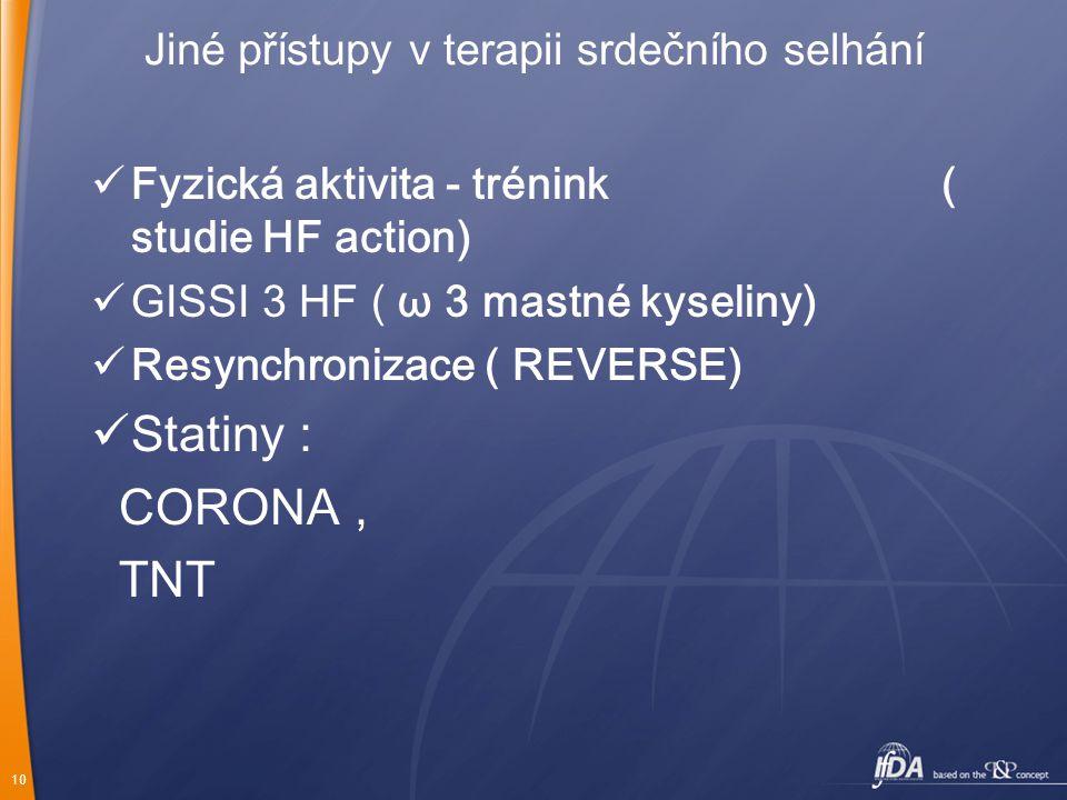 10 Jiné přístupy v terapii srdečního selhání Fyzická aktivita - trénink ( studie HF action) GISSI 3 HF ( ω 3 mastné kyseliny) Resynchronizace ( REVERS