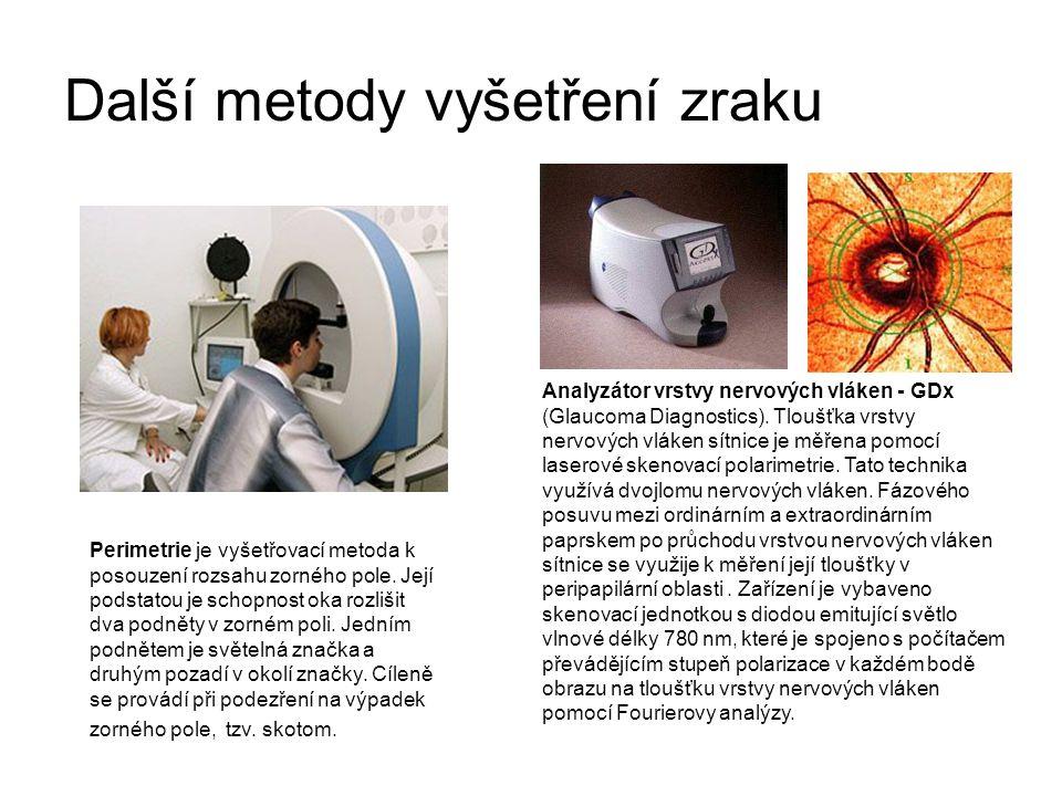 Další metody vyšetření zraku Perimetrie je vyšetřovací metoda k posouzení rozsahu zorného pole. Její podstatou je schopnost oka rozlišit dva podněty v