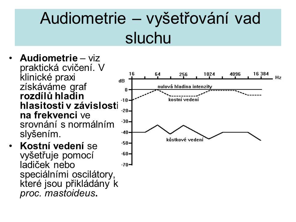 Audiometrie – vyšetřování vad sluchu Audiometrie – viz praktická cvičení. V klinické praxi získáváme graf rozdílů hladin hlasitosti v závislosti na fr