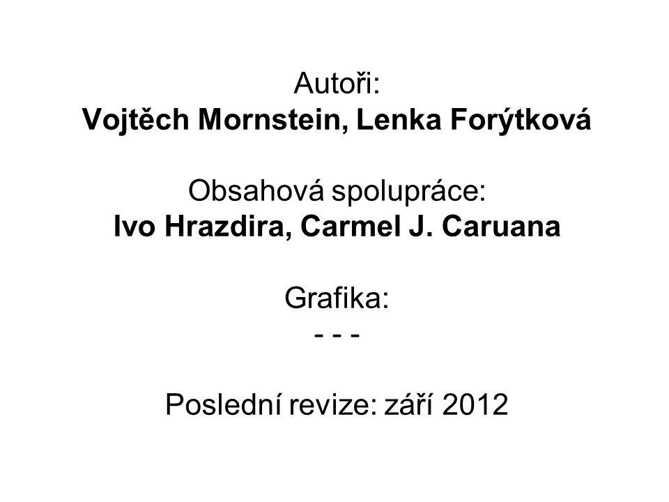 Autoři: Vojtěch Mornstein, Lenka Forýtková Obsahová spolupráce: Ivo Hrazdira, Carmel J. Caruana Grafika: - - - Poslední revize: září 2012