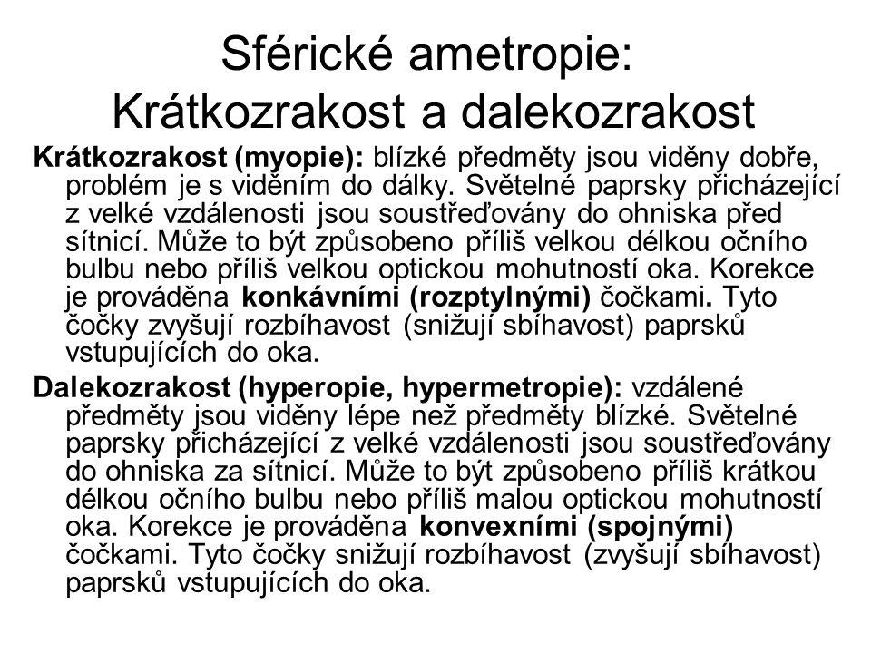 Sférické ametropie: Krátkozrakost a dalekozrakost Krátkozrakost (myopie): blízké předměty jsou viděny dobře, problém je s viděním do dálky. Světelné p
