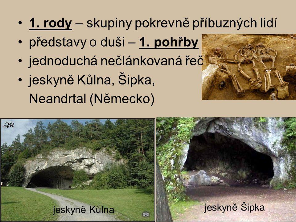 1. rody – skupiny pokrevně příbuzných lidí představy o duši – 1. pohřby jednoduchá nečlánkovaná řeč jeskyně Kůlna, Šipka, Neandrtal (Německo) jeskyně