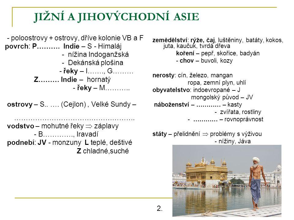 JIŽNÍ A JIHOVÝCHODNÍ ASIE - poloostrovy + ostrovy, dříve kolonie VB a F povrch: P………. Indie – S - Himaláj - nížina Indoganžská - Dekánská plošina - ře
