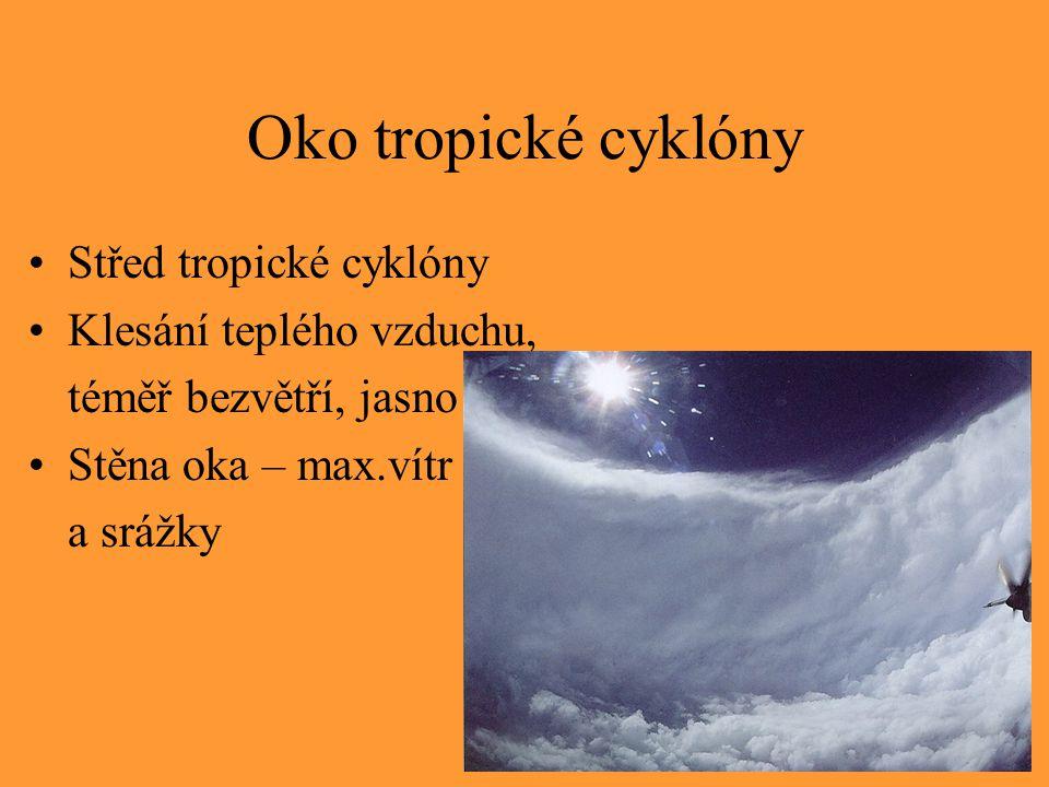 Oko tropické cyklóny Střed tropické cyklóny Klesání teplého vzduchu, téměř bezvětří, jasno Stěna oka – max.vítr a srážky