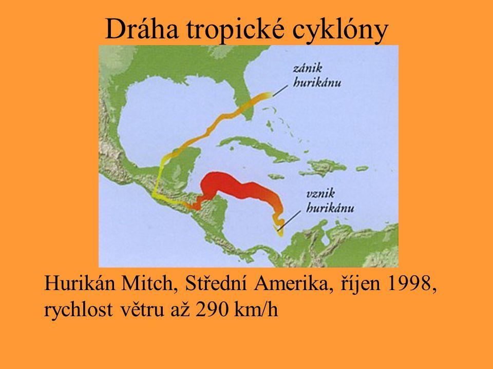 Dráha tropické cyklóny Hurikán Mitch, Střední Amerika, říjen 1998, rychlost větru až 290 km/h