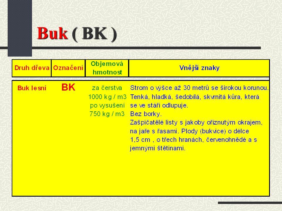 Buk ( Fagus silvatica L.) Světle šedé až hnědočervené dřevo, tvrdé (stejně jako dubové dřevo), lze ho namáhat. Je vhodné pro povrchové úpravy mořením,