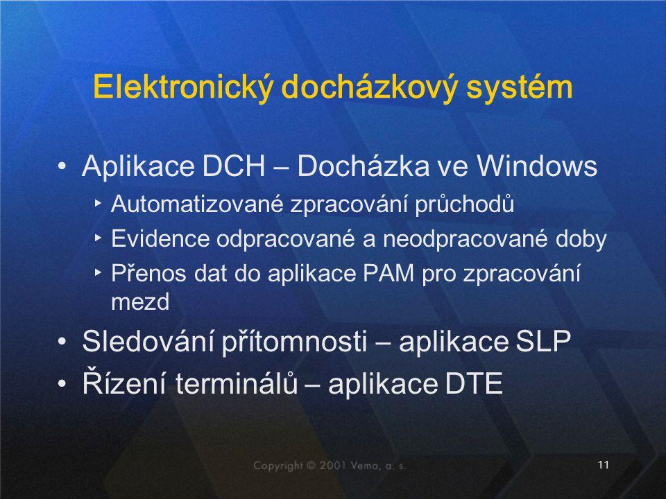 11 Elektronický docházkový systém Aplikace DCH – Docházka ve Windows ▸Automatizované zpracování průchodů ▸Evidence odpracované a neodpracované doby ▸Přenos dat do aplikace PAM pro zpracování mezd Sledování přítomnosti – aplikace SLP Řízení terminálů – aplikace DTE