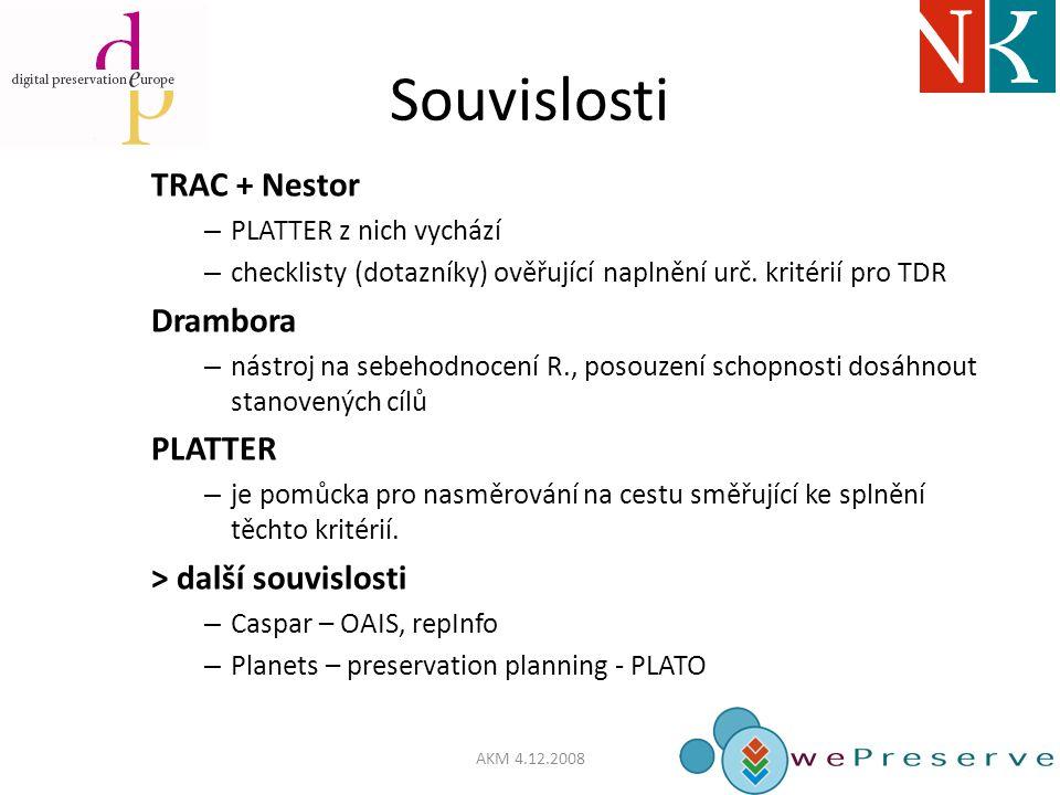 Souvislosti TRAC + Nestor – PLATTER z nich vychází – checklisty (dotazníky) ověřující naplnění urč.