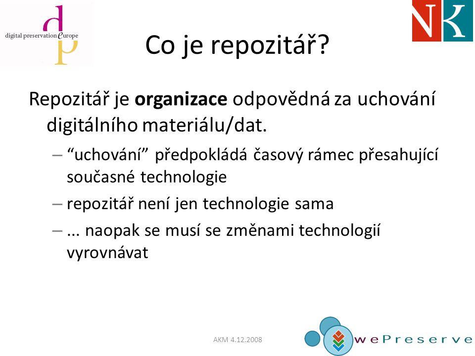 Co je repozitář. Repozitář je organizace odpovědná za uchování digitálního materiálu/dat.