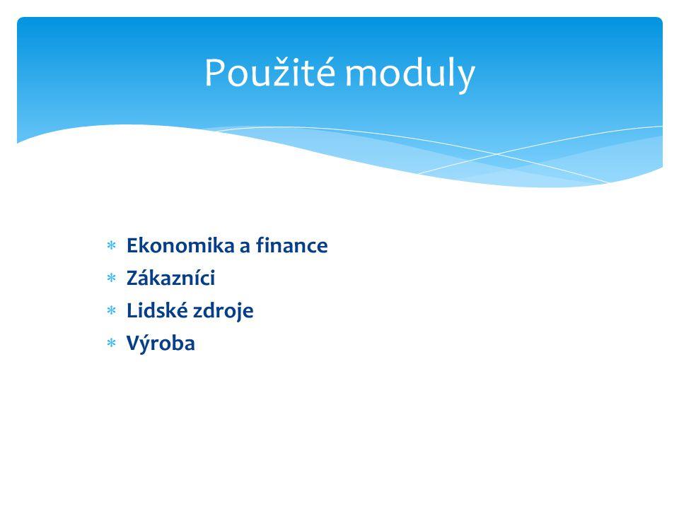  Ekonomika a finance  Zákazníci  Lidské zdroje  Výroba Použité moduly