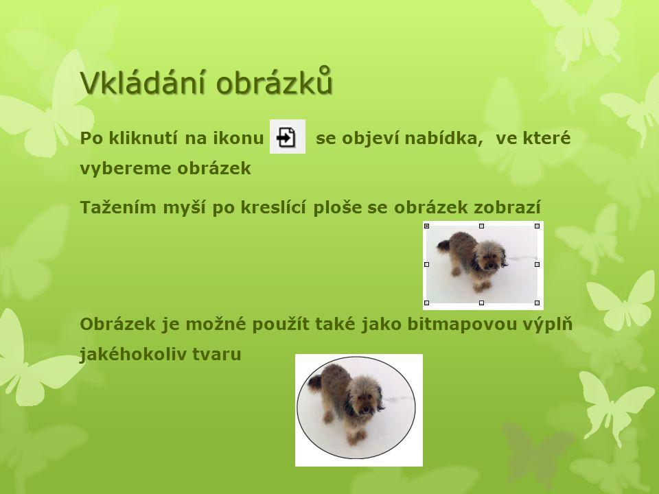 Vkládání obrázků Po kliknutí na ikonu se objeví nabídka, ve které vybereme obrázek Tažením myší po kreslící ploše se obrázek zobrazí Obrázek je možné použít také jako bitmapovou výplň jakéhokoliv tvaru