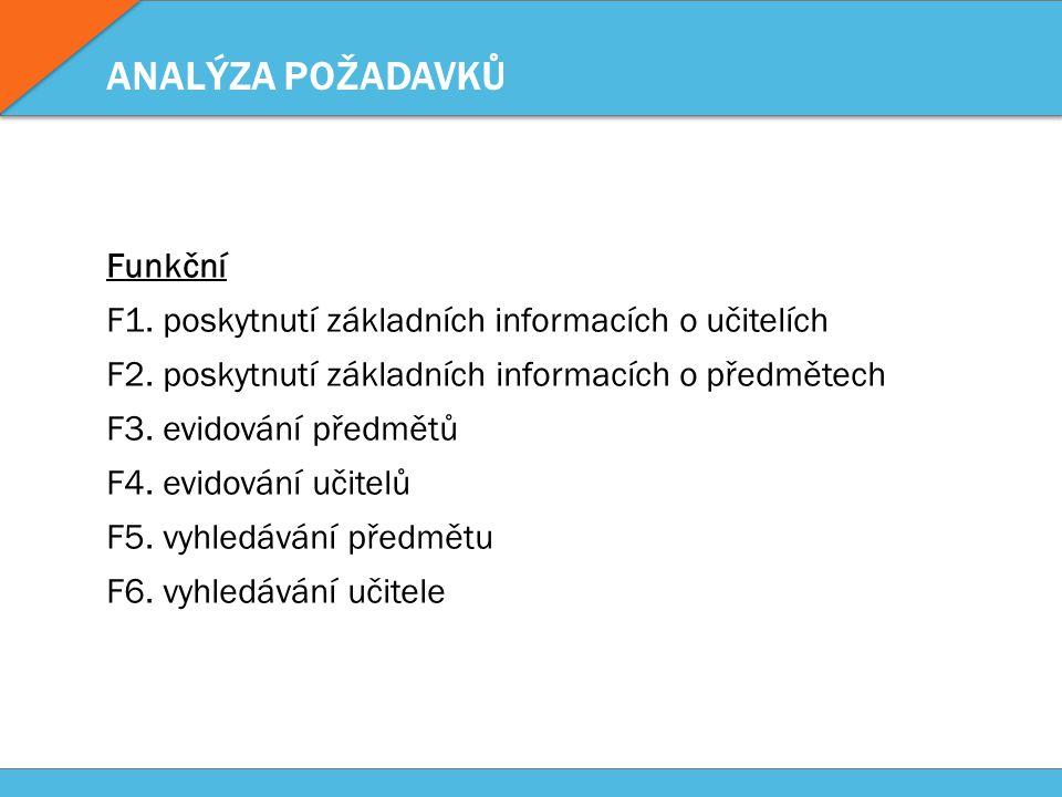 ANALÝZA POŽADAVKŮ Funkční F1. poskytnutí základních informacích o učitelích F2.