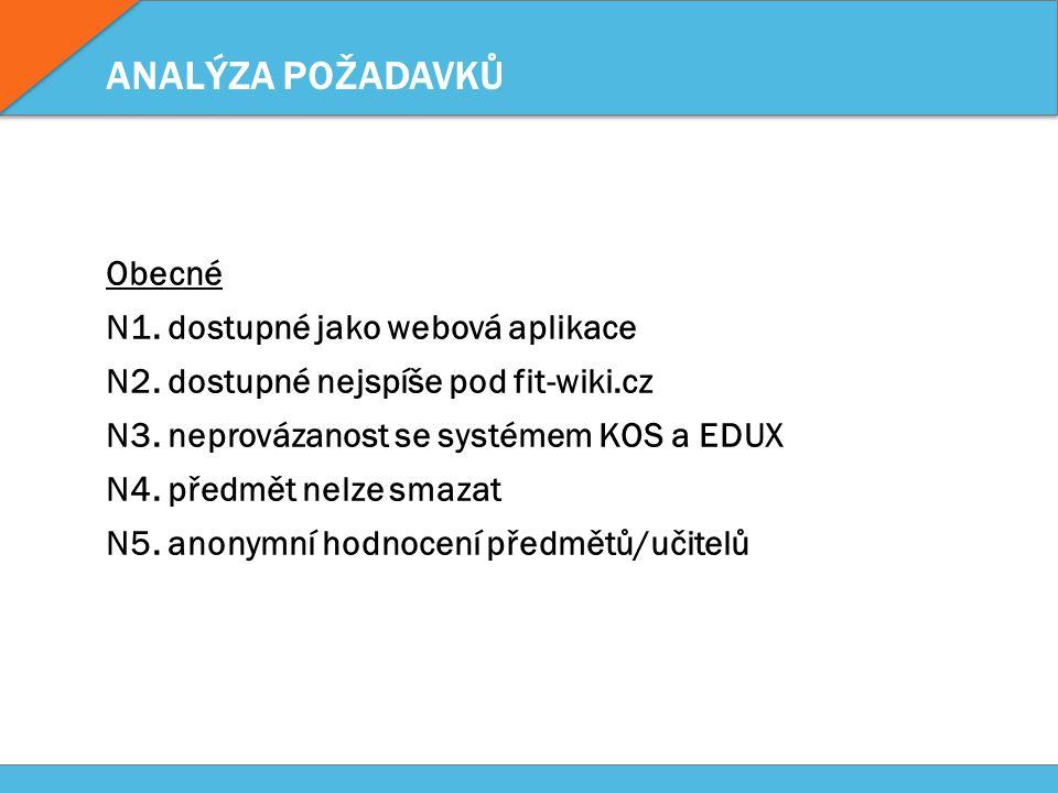 ANALÝZA POŽADAVKŮ Obecné N1. dostupné jako webová aplikace N2.