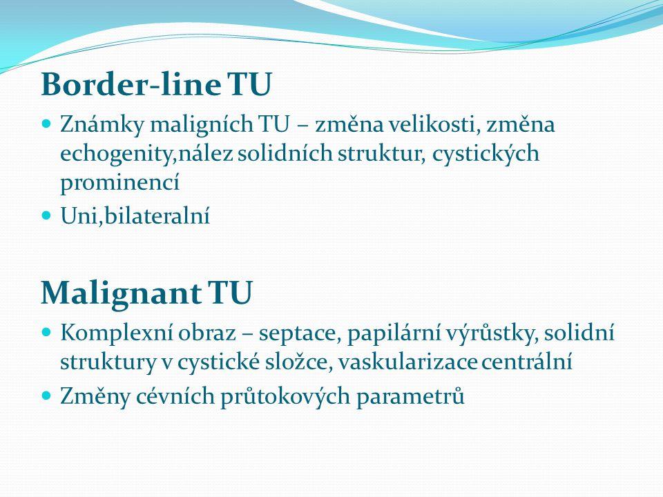 Border-line TU Známky maligních TU – změna velikosti, změna echogenity,nález solidních struktur, cystických prominencí Uni,bilateralní Malignant TU Ko