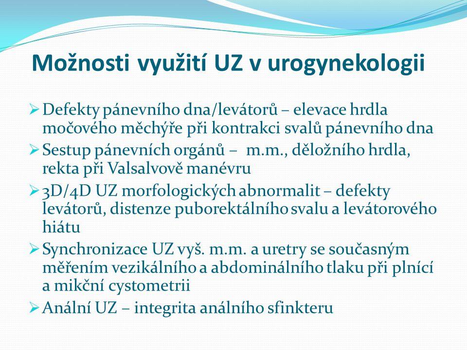 Možnosti využití UZ v urogynekologii  Defekty pánevního dna/levátorů – elevace hrdla močového měchýře při kontrakci svalů pánevního dna  Sestup páne