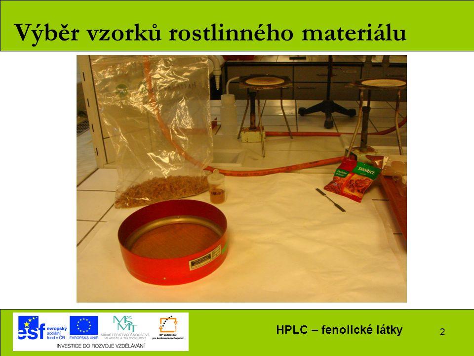 HPLC – fenolické látky 2 Výběr vzorků rostlinného materiálu