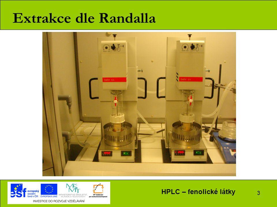 3 Extrakce dle Randalla HPLC – fenolické látky