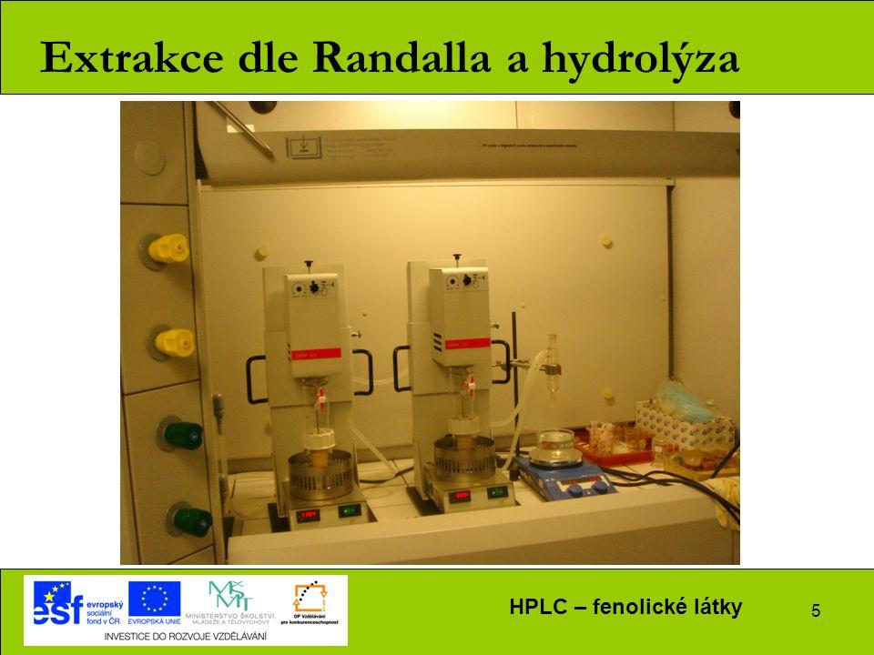 5 Extrakce dle Randalla a hydrolýza HPLC – fenolické látky