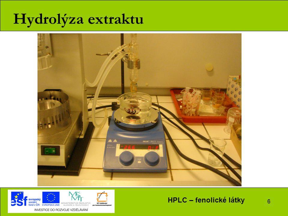 6 Hydrolýza extraktu HPLC – fenolické látky