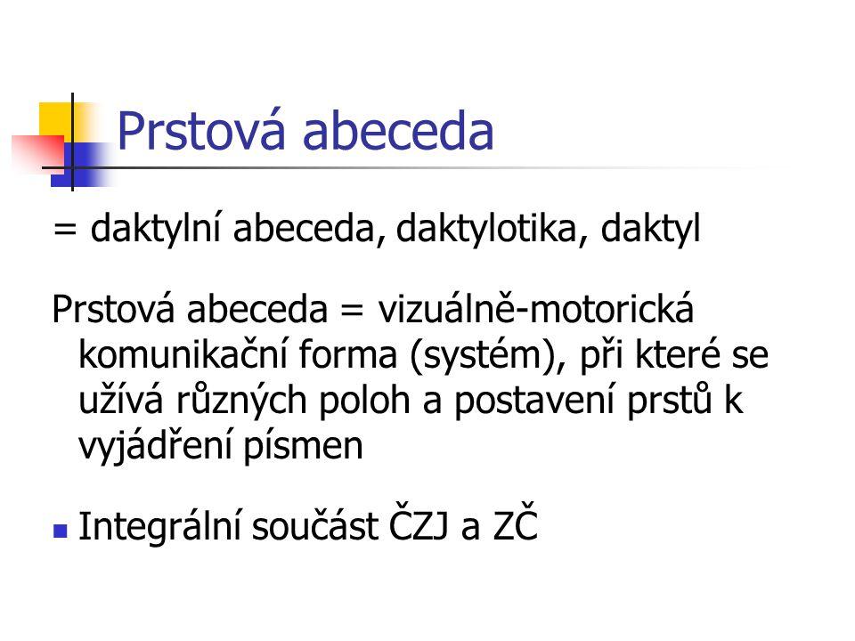 Alternativní a augmentativní komunikace Prstové abecedy