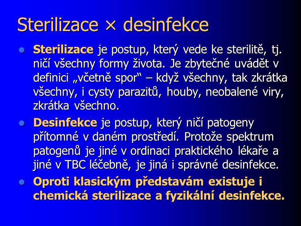 """Sterilizace × desinfekce Sterilizace je postup, který vede ke sterilitě, tj. ničí všechny formy života. Je zbytečné uvádět v definici """"včetně spor"""" –"""