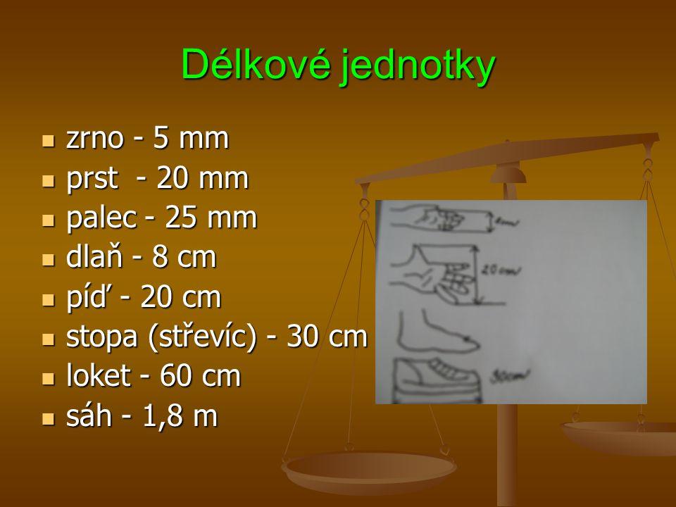 Délkové jednotky zrno - 5 mm zrno - 5 mm prst - 20 mm prst - 20 mm palec - 25 mm palec - 25 mm dlaň - 8 cm dlaň - 8 cm píď - 20 cm píď - 20 cm stopa (