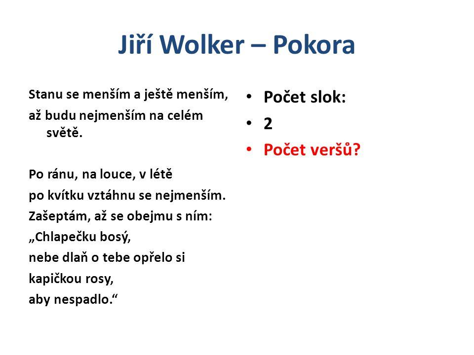 Jiří Wolker – Pokora Možná interpretace Pokora Název básně – význam: Pokora = pocit vlastní nedokonalosti člověka Pokora = skromné chování Pokora = nesobeckost Pokora = pocit vlastní slabosti a nedokonalosti