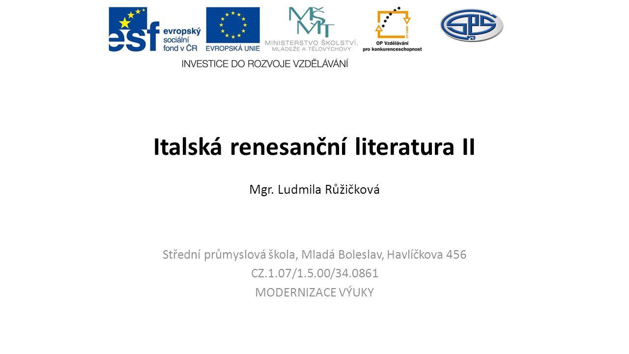 Italská renesanční literatura II Mgr.