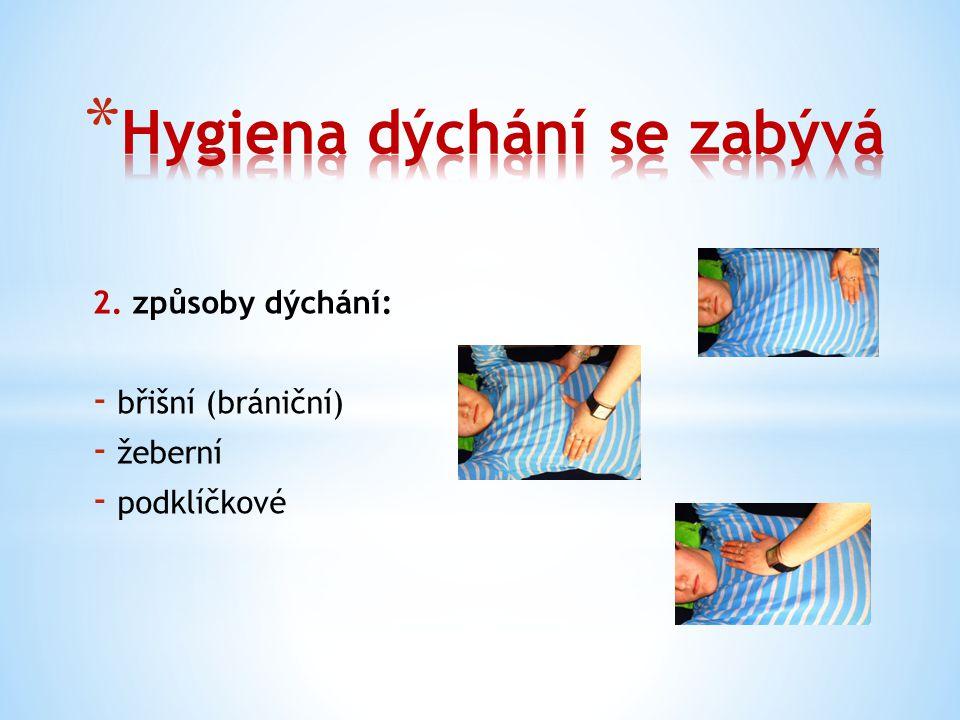 2. způsoby dýchání: - břišní (brániční) - žeberní - podklíčkové