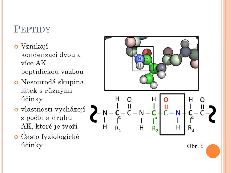 P EPTIDY Vznikají kondenzací dvou a více AK peptidickou vazbou Nesourodá skupina látek s různými účinky vlastnosti vycházejí z počtu a druhu AK, které