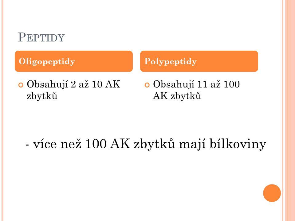 P EPTIDY Obsahují 2 až 10 AK zbytků Obsahují 11 až 100 AK zbytků OligopeptidyPolypeptidy - více než 100 AK zbytků mají bílkoviny