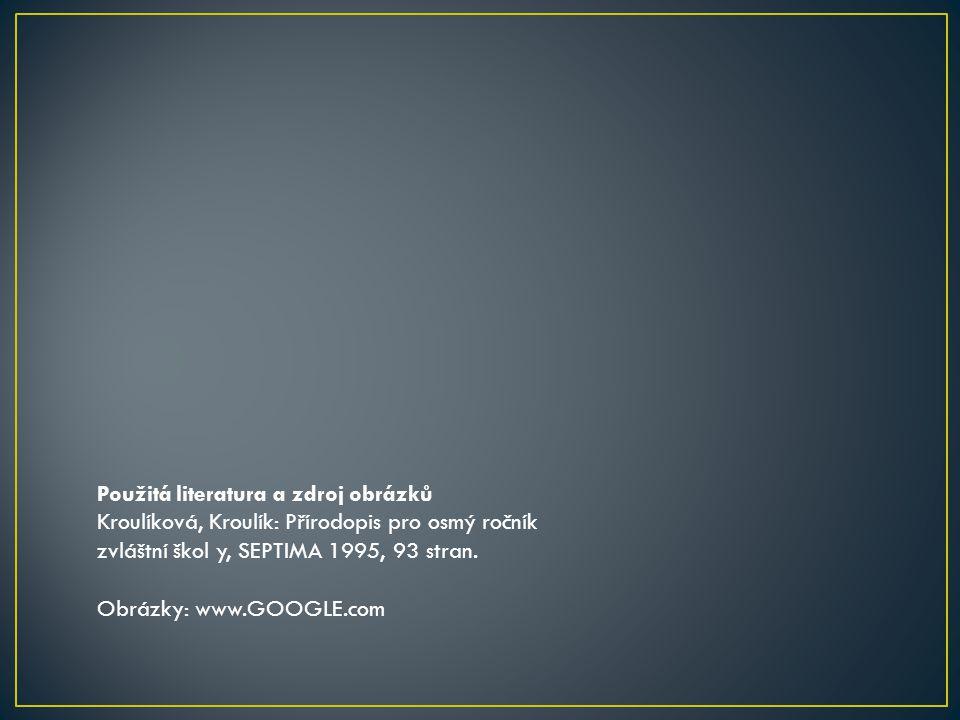Použitá literatura a zdroj obrázků Kroulíková, Kroulík: Přírodopis pro osmý ročník zvláštní škol y, SEPTIMA 1995, 93 stran. Obrázky: www.GOOGLE.com