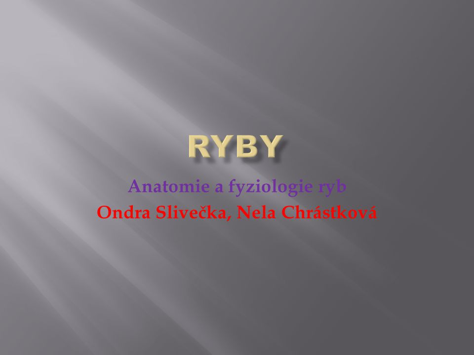 Anatomie a fyziologie ryb Ondra Slivečka, Nela Chrástková