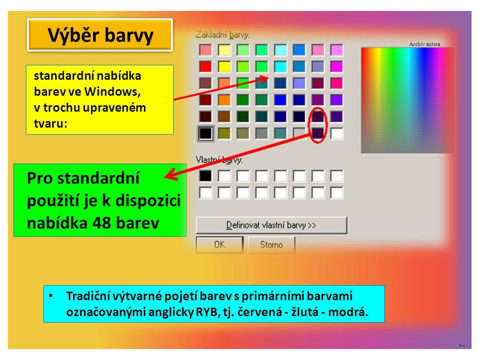 ©c.zuk standardní nabídka barev ve Windows, v trochu upraveném tvaru: Pro standardní použití je k dispozici nabídka 48 barev Výběr barvy Tradiční výtvarné pojetí barev s primárními barvami označovanými anglicky RYB, tj.