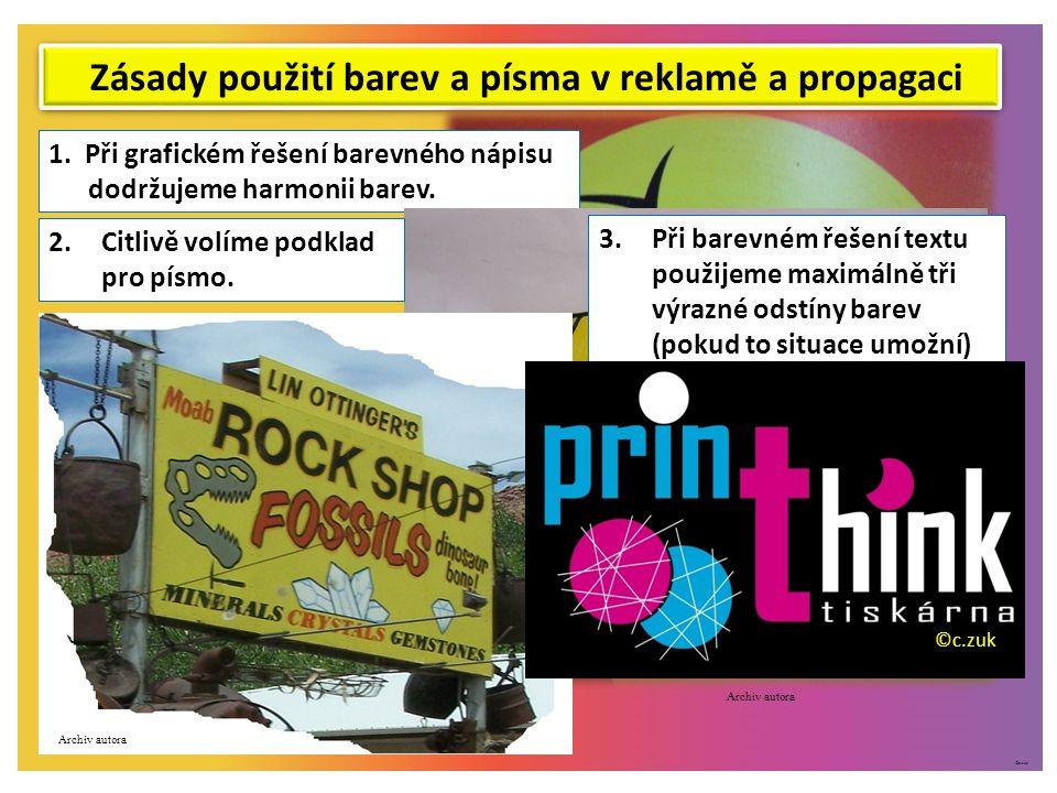 ©c.zuk Zásady použití barev a písma v reklamě a propagaci 1.