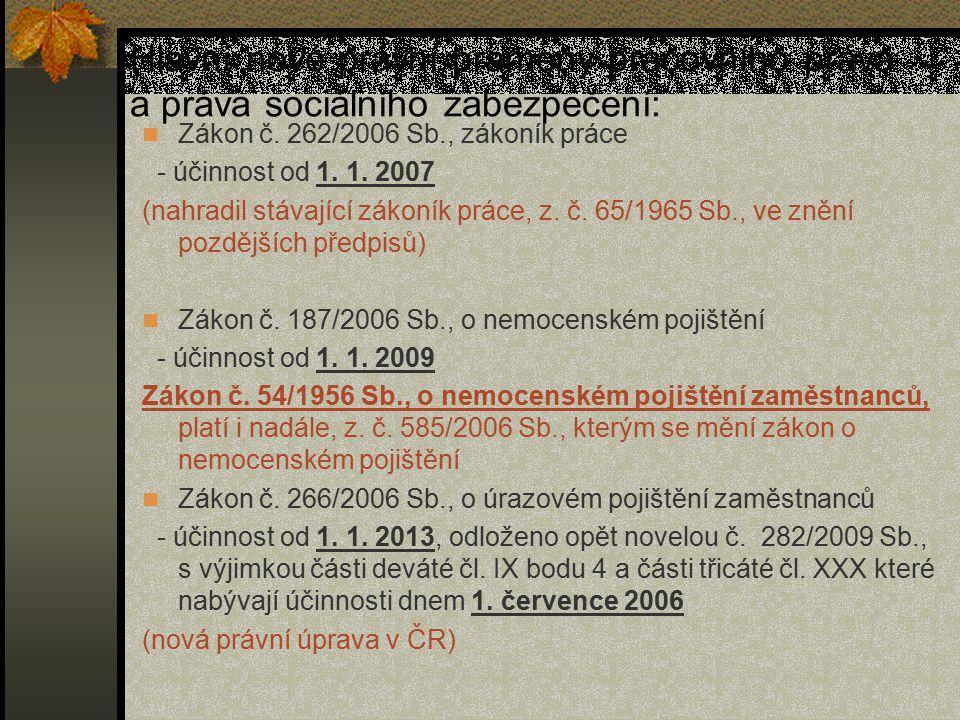 Hlavní nové právní prameny pracovního práva a práva sociálního zabezpečení: Zákon č. 262/2006 Sb., zákoník práce - účinnost od 1. 1. 2007 (nahradil st