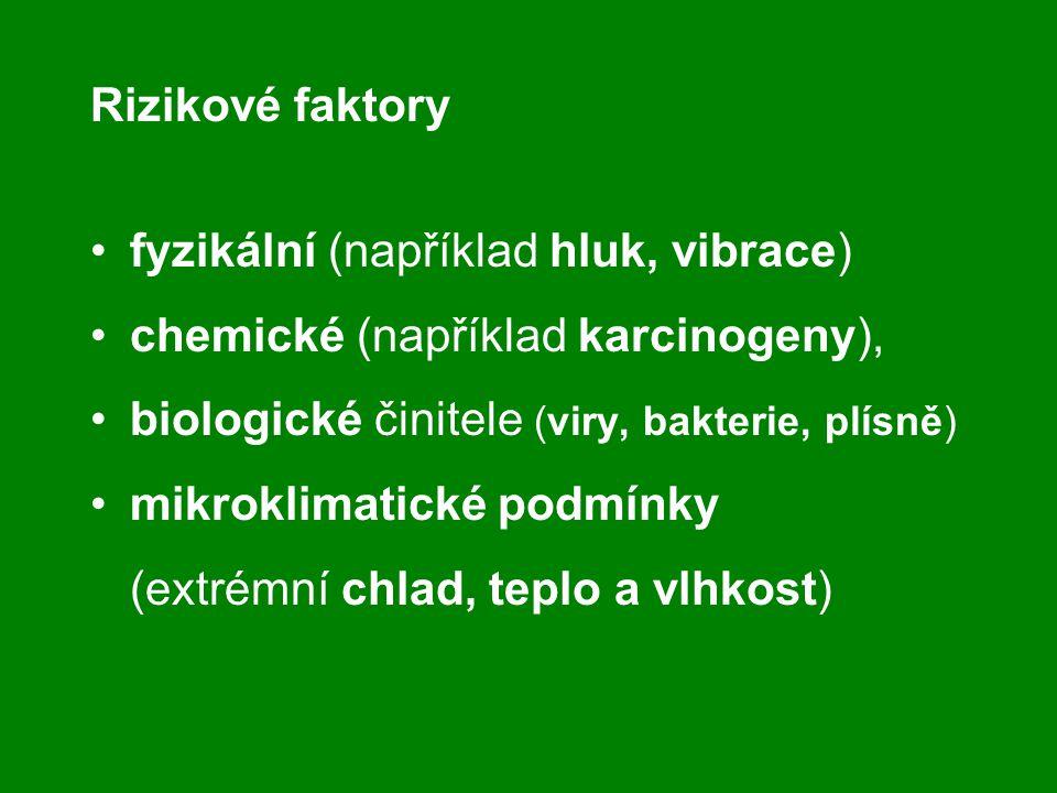 Rizikové faktory fyzikální (například hluk, vibrace) chemické (například karcinogeny), biologické činitele (viry, bakterie, plísně) mikroklimatické po