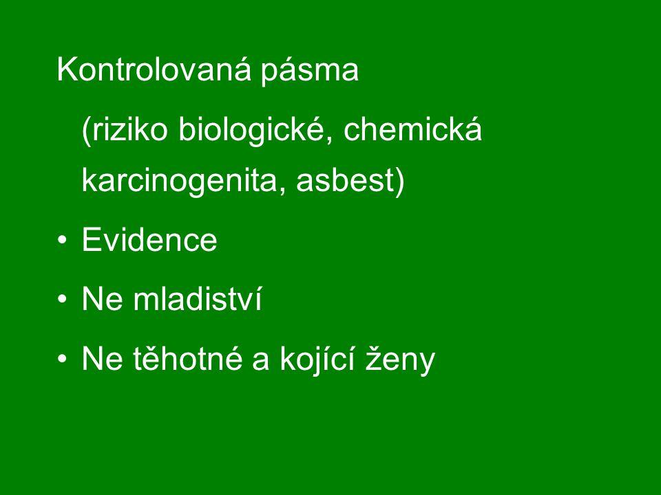 Kontrolovaná pásma (riziko biologické, chemická karcinogenita, asbest) Evidence Ne mladiství Ne těhotné a kojící ženy