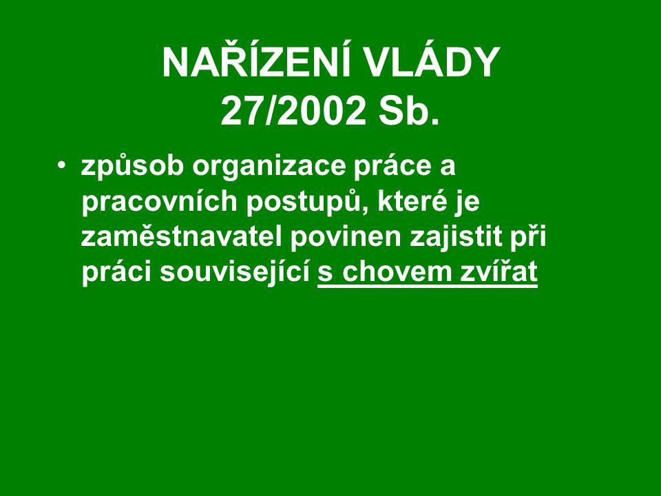 NAŘÍZENÍ VLÁDY 27/2002 Sb. způsob organizace práce a pracovních postupů, které je zaměstnavatel povinen zajistit při práci související s chovem zvířat