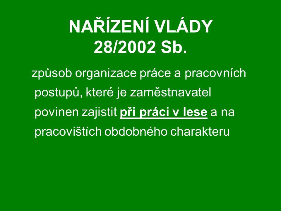 NAŘÍZENÍ VLÁDY 28/2002 Sb. způsob organizace práce a pracovních postupů, které je zaměstnavatel povinen zajistit při práci v lese a na pracovištích ob