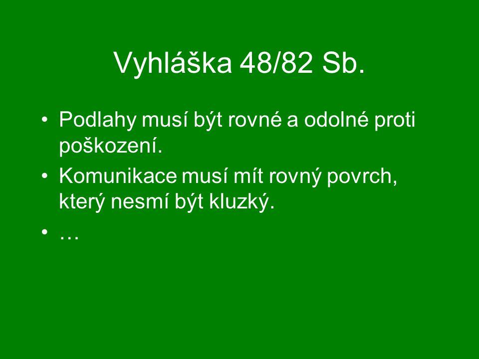 Vyhláška 48/82 Sb. Podlahy musí být rovné a odolné proti poškození. Komunikace musí mít rovný povrch, který nesmí být kluzký. …