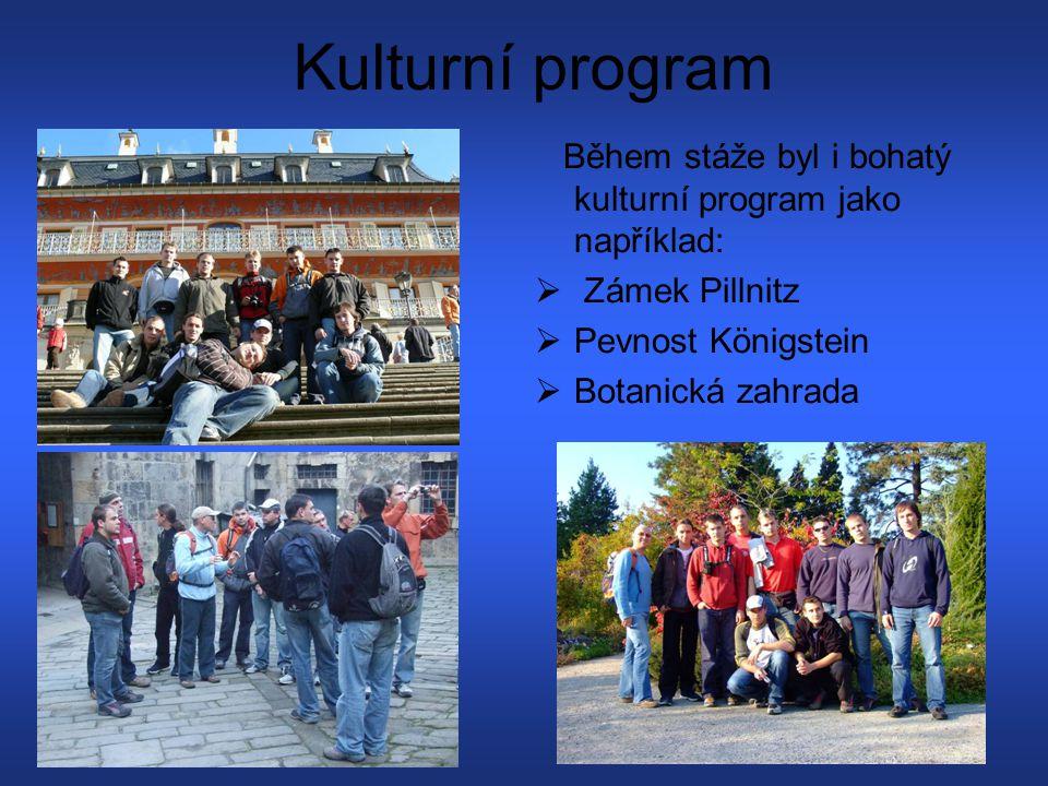 Kulturní program Během stáže byl i bohatý kulturní program jako například:  Zámek Pillnitz PPevnost Königstein BBotanická zahrada